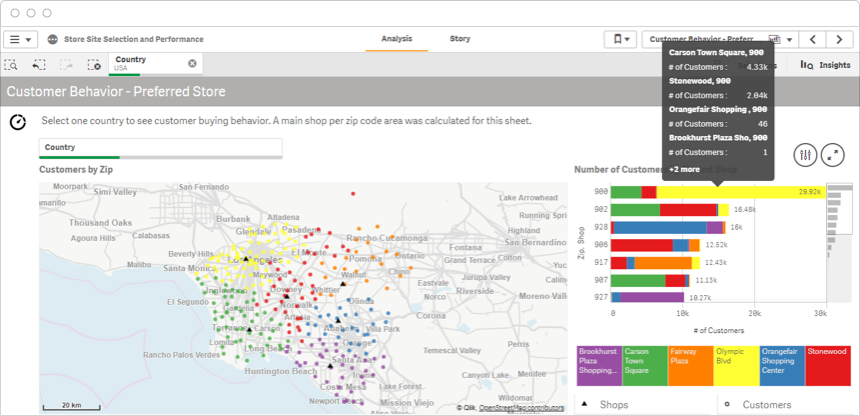 Qlik Sense demo of formatting and annotating geospatial analytics to help get insights from data