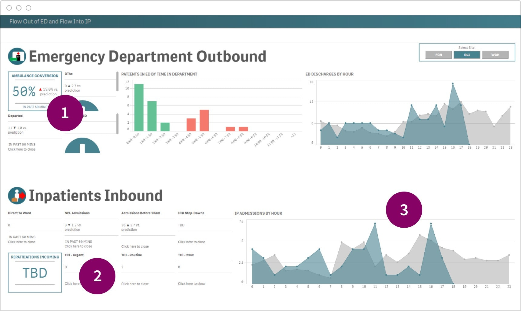 A Qlik Sense executive dashboard design showing strategic KPIs, predictions and time-based trends.