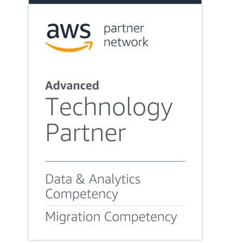 AWS partner network badge showing how Qlik is an Advanced Technology Partner in Data & Analytics Competency and Migration Competency.