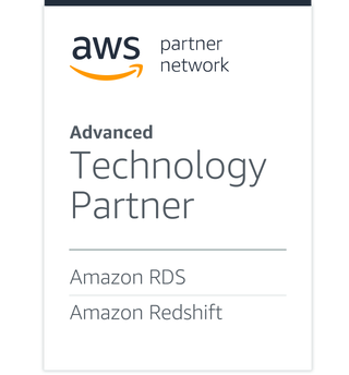 AWS partner network badge showing how Qlik is an Advanced Technology Partner in Amazon RDS and Amazon Redshift.