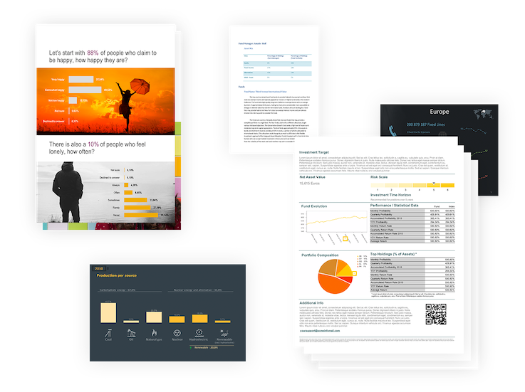 Modern BI reporting enables drag-and-drop report creation and formatting, output in popular formats and automated delivery.