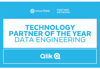 Snowflake partner network badge showing how Qlik is a Technology Partner of the Year in Data Engineering.